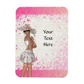 Chica rosado del verano imán rectangular