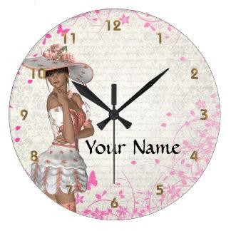 Chica rosado del verano reloj redondo grande