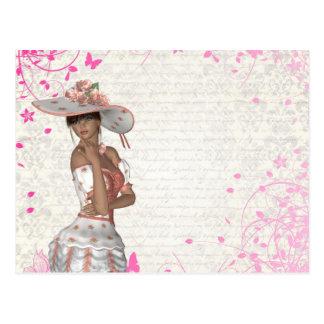 Chica rosado del verano postal