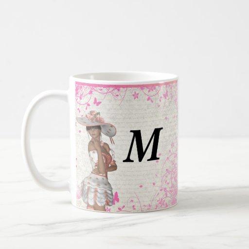 Chica rosado del verano taza