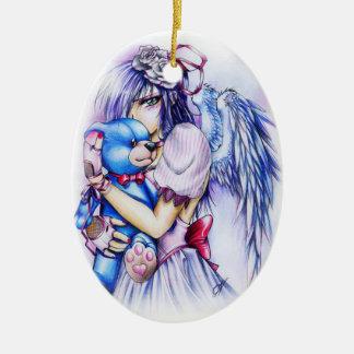 Chica rosado gótico del ángel del animado con el adorno navideño ovalado de cerámica