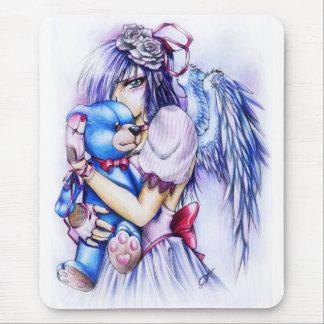 Chica rosado gótico del ángel del animado con el tapete de raton