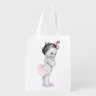 Chica rosado hermoso del vintage de la fiesta de bolsas reutilizables