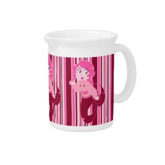 Chica rosado lindo de la sirena jarras