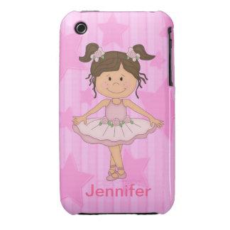 Chica rosado lindo del ballet en las estrellas y iPhone 3 Case-Mate coberturas