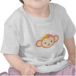 Chica rosado lindo del mono camisetas