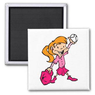 chica rosado pelirrojo del béisbol iman de nevera