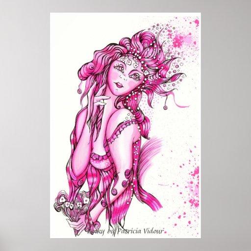 Chica rosado póster
