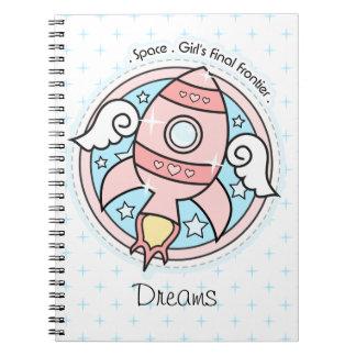 Chica rosado Rocketship Note Book