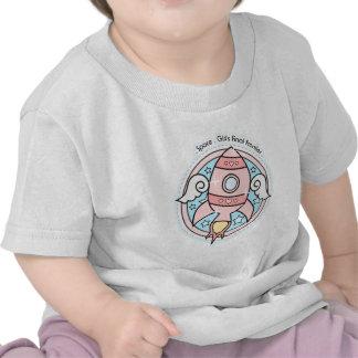 Chica rosado Rocketship Camiseta