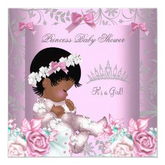 """Chica rosado y gris afroamericano 3 de la fiesta invitación 5.25"""" x 5.25"""""""