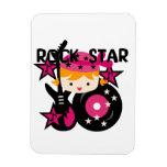 Chica rubio de la estrella del rock imanes de vinilo