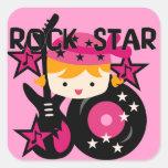 Chica rubio de la estrella del rock colcomanias cuadradases