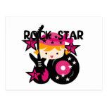 Chica rubio de la estrella del rock postal