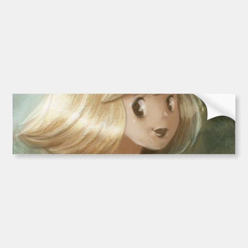Chica rubio de oro lindo etiqueta de parachoque