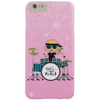 Chica rubio del batería con las estrellas en rosa funda de iPhone 6 plus barely there