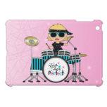 Chica rubio del batería con las estrellas en rosa iPad mini fundas