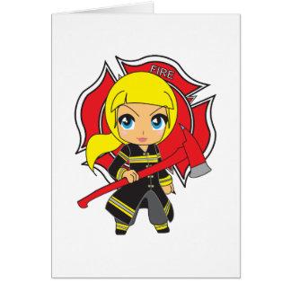 Chica rubio del bombero de Kawaii Tarjeta De Felicitación