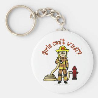 Chica rubio del bombero llaveros
