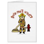 Chica rubio del bombero tarjeton