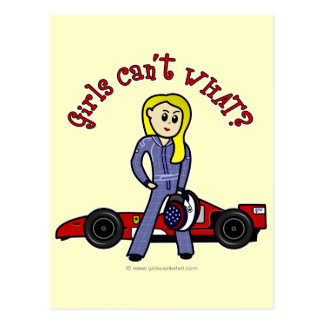 Chica rubio del conductor de coche de carreras tarjeta postal