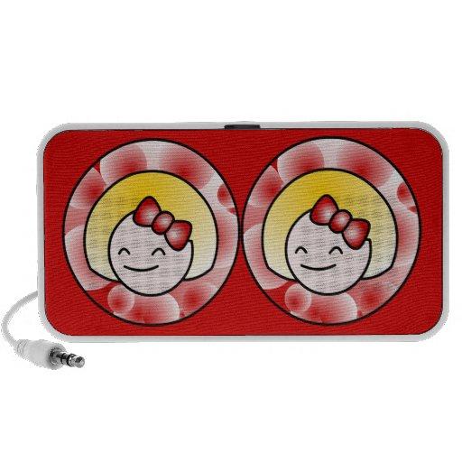 Chica rubio lindo rojo portátil altavoz