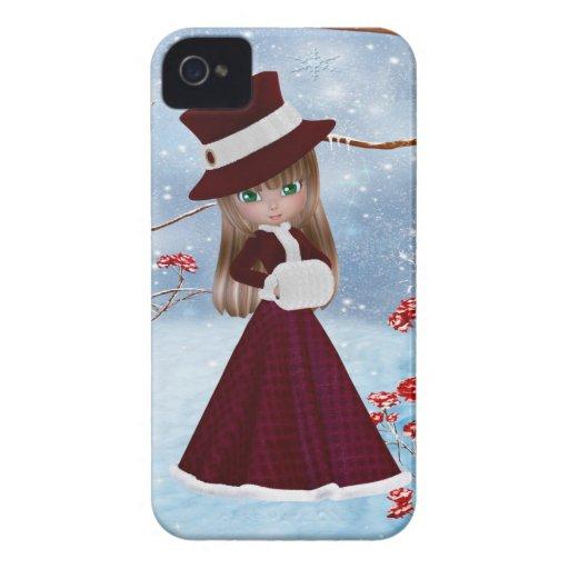 Chica rubio, navidad, nieve iPhone 4 cárcasas