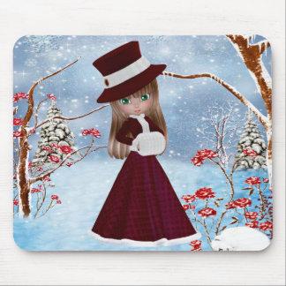 Chica rubio, navidad, nieve tapetes de ratones