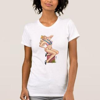 Chica rubio Pin-para arriba del bikini con las flo Camiseta