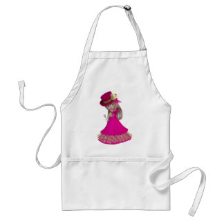Chica rubio que sostiene un color de rosa rosado delantales