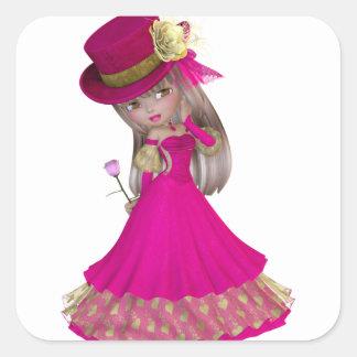 Chica rubio que sostiene un color de rosa rosado colcomanias cuadradas