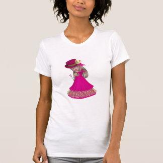 Chica rubio que sostiene un color de rosa rosado camisetas