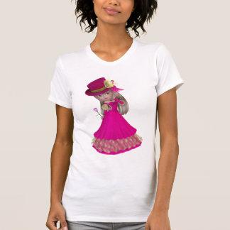 Chica rubio que sostiene un color de rosa rosado camiseta
