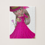 Chica rubio que sostiene un color de rosa rosado puzzles con fotos