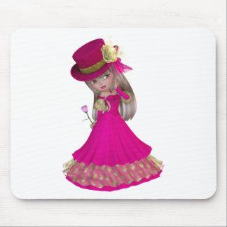 Chica rubio que sostiene un color de rosa rosado alfombrilla de raton