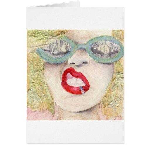 Chica rubio tarjeta de felicitación