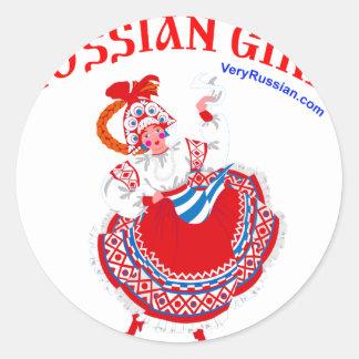 ¡Chica ruso! Pegatina Redonda