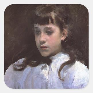 Chica Sargent-Joven de Juan CON la blusa blanca de Pegatina Cuadrada
