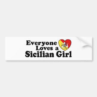 Chica siciliano etiqueta de parachoque