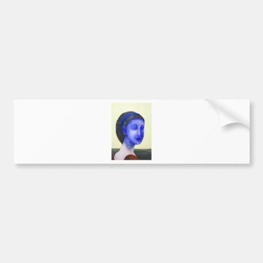 Chica sin la cara (realismo surrealista) etiqueta de parachoque