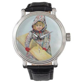 Chica Sledding del invierno del vintage Reloj De Mano