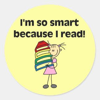 Chica Smart porque leí las camisetas y los regalos Pegatina Redonda