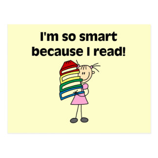 Chica Smart porque leí las camisetas y los regalos Tarjeta Postal