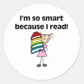 Chica Smart porque leí Pegatina Redonda
