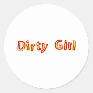 Chica sucio pegatina redonda