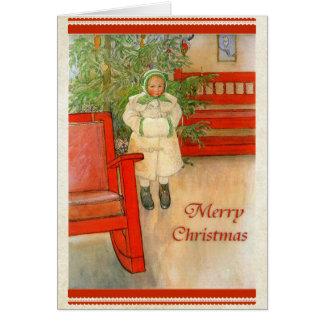 Chica sueco con Felices Navidad del manguito del Tarjeta De Felicitación