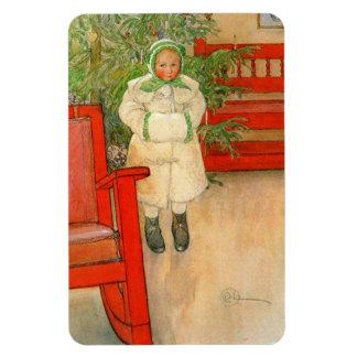Chica sueco del vintage con navidad del manguito imanes