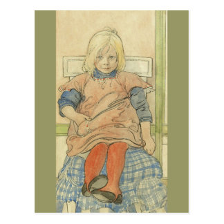 Chica sueco del vintage en silla de la tela tarjetas postales