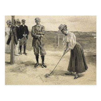 Chica SUPERIOR del golf Tarjetas Postales