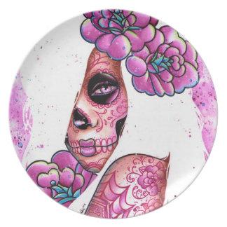 Chica tatuado del cráneo del azúcar Lola Platos De Comidas